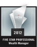 Plaque - Five Star Professional Wealth Manager Washington DC Metro Area 2012