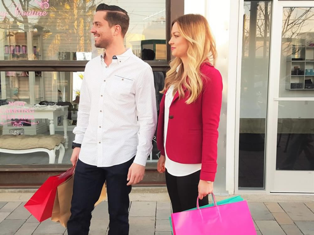 One of this couple shopping might be an over-spender