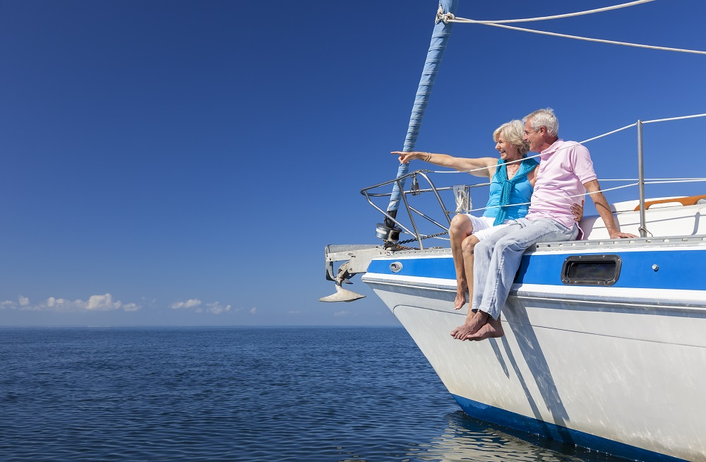 Couple on yacht have are planning for retirement and have sufficient retirement resources for a successful retirement