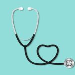 Stethoscope arranged in heart shape on teal background to symbolize the importance of healthcare in retirement